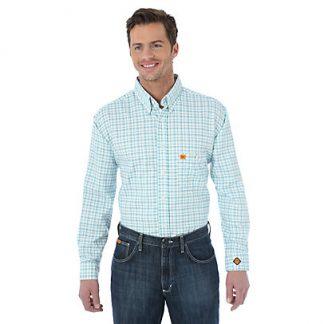 Wrangler FR Long Sleeve Button Down Collar Plaid Shirt Turquoise