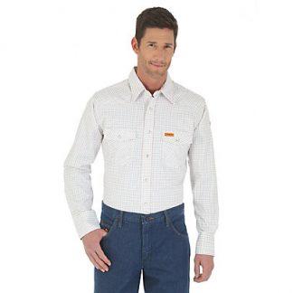 Wrangler FR Long Sleeve Button Down Collar Plaid Shirt White