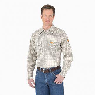 Wrangler FR Long Sleeve Button Khaki & White