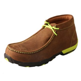 Men's Driving Moccains Distressed Saddle Yellow