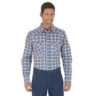 Wrangler FR Long Sleeve Button Down Collar Blue & Red